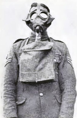 Gas attacks at Wulverghem - Image: British soldier in a Small Box respirator