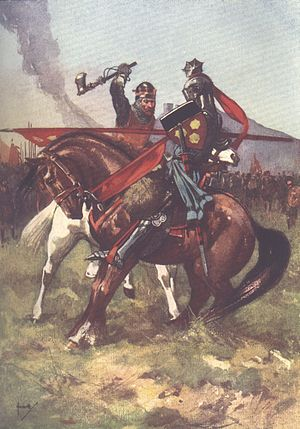 Bruce defeats de Bohun on the eve of Bannockburn, from a children's history book.jpg
