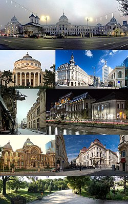 From top, left to right: Colțea Hospital, Romanian Athenaeum, Calea Victoriei, Lipscani, view towards Caru' cu Bere and Stavropoleos Monastery, Palace of Justice, CEC Palace, National Bank of Romania, Floreasca