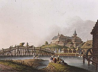 Dealul Spirii - The Dâmbovița watermills on the outskirts of Bucharest, with Dealul Spirii and Mihai Vodă Monastery in the background (1837)