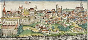 Buda Castle - Buda Castle in the Nuremberg Chronicle, 1493