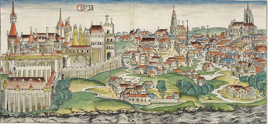 Buda panorámája Pest felől 1493-ban Hartmann Schedel a Nürnbergi Krónikája szerint