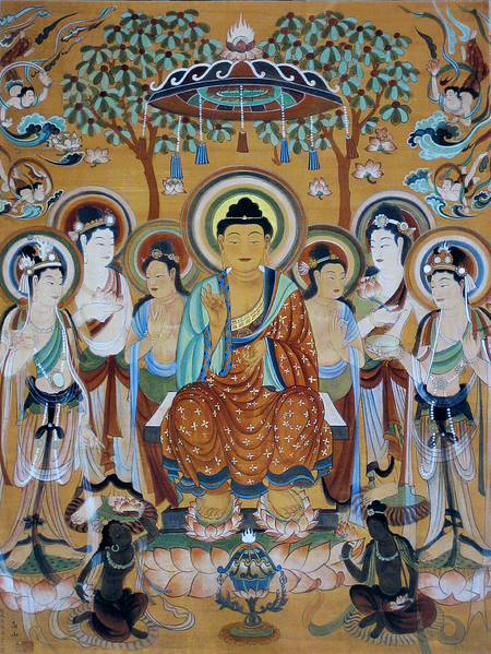 File:Buddha and Bodhisattvas Dunhuang Mogao Caves.png