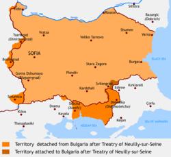 Η Βουλγαρία μετά τη συνθήκη του Νεϊγύ. Με έντονο πορτοκαλί χρώμα απώλειες εδαφών και με καφέ νέα πρόσκτηση (από Ευρωπ. Τουρκία)