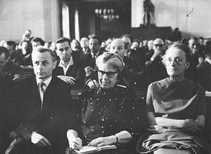 Eslanda Goode Robeson - Eslanda Robeson (centre) attending court proceedings against Hans Globke, East Germany, 1963