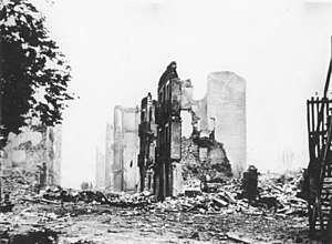 Ruins of Guernica (1937). The Spanish civil wa...