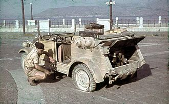 Volkswagen Kübelwagen - VW Type 82 with engine visible in Sicily (1943).
