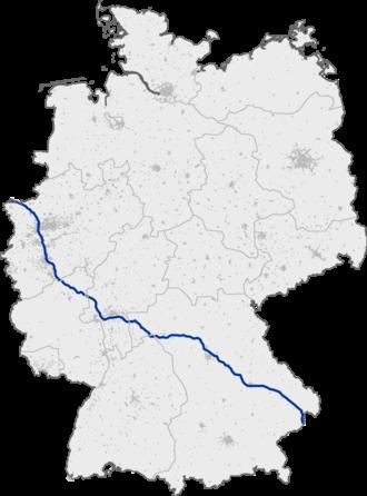 Bundesautobahn 3 - Image: Bundesautobahn 3 map