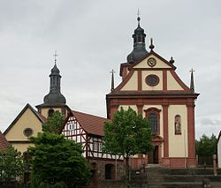 The Protestant (left) and Catholic (right) churches in the Baroque style in Burghaun