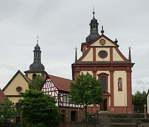 Burghaun - The Protestant (left) and Catholic (right) churches in the Baroque style in Burghaun