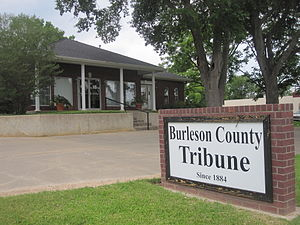 Burleson County, Texas - Office of Burleson County Tribune (founded 1884) in Caldwell