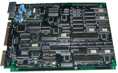 Two Hitachi 68HC000 CPUs being used on an arcade-game PCB Burning force pcb.PNG