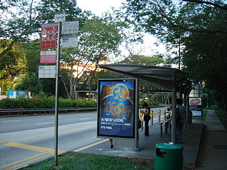 Bus transport in Singapore - This bus stop pole was used before 1994