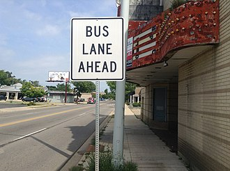 Silver Line (Grand Rapids) - Bus Lane Ahead sign on Division Avenue