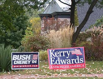 2004 United States presidential election - Neighboring yard signs for Bush and Kerry in Grosse Pointe, Michigan
