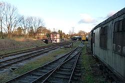 Butterley railway station, Derbyshire, England -tracks-19Jan2014.jpg