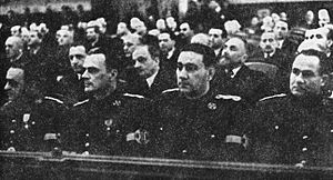 Mihai Ralea - Founding session of the National Renaissance Front. Wearing the Front's gala uniforms, from left: Armand Călinescu, Grigore Gafencu, Ralea, Mitiță Constantinescu