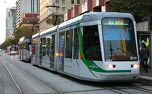 Director of Public Transport -  A tram operated by Yarra Trams under contract to the Director of Public Transport at Spencer Street in Melbourne.