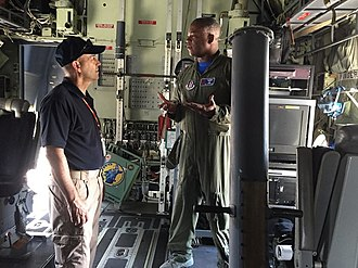 53rd Weather Reconnaissance Squadron - 53rd Weather Reconnaissance Squadron and FEMA staff discuss Hurricane Hunter aircraft operations aboard an Air Force Reserve WC-130J Super Hercules