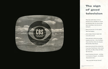 A 1951 advertisement for the CBS Television Network introduced the Eye logo. CBS Eye Ad Dec 1951.jpg