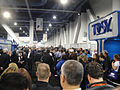 CES 2012 - Justin Bieber crowd at Tosy booth (6937587409).jpg
