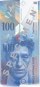 A banknote with portrait of Giacometti