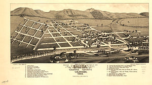 Salida, Colorado - Map of Salida, 1882