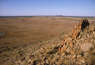 Central Australian landscape. Australia is mostly unpopulated as a result of having amongst the least fertile soils in the world. CSIRO ScienceImage 1256 Central Australian landscape.jpg