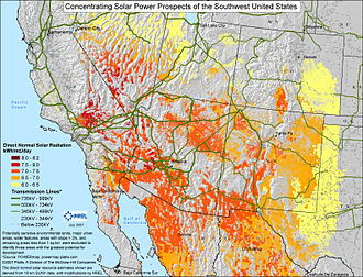 Solar power in Arizona - Insolation on developable areas of the SW United States.