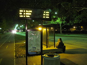 Champaign-Urbana Mass Transit District - A typical CUMTD bus stop in Urbana, Illinois on the campus of the University of Illinois at Urbana-Champaign