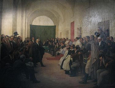"The ""Cabildo Abierto"" of may 22, 1810, in the city of Buenos Aires (now part of Argentina, then part of the Viceroyalty of the Rio de la Plata), where it was decided to remove the viceroy Baltasar Hidalgo de Cisneros. Cabildoabierto-Subercaseaux.jpg"