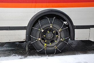 Snow chains - Cable chains on a bus tire