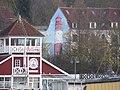 Cafe und Restaurant Bellevue sowie Außenwandbemalung eines Leuchtturms am Gebäude Hafendamm 13 (Flensburg 2014-11-21), Bild 3.jpg