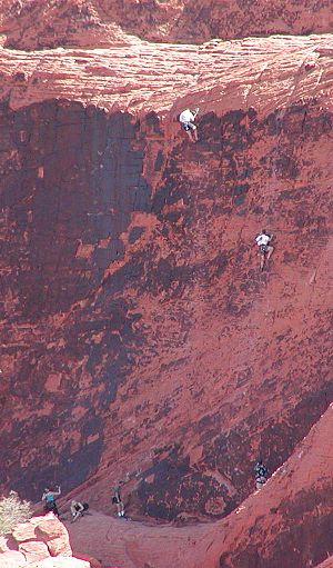 Types of climbing - Short (one-pitch) climbs on the Calico Hills, west of Las Vegas, Nevada