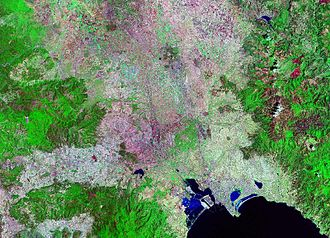 Metropolitan City of Cagliari - Satellite view of part of the Metropolitan city of Cagliari