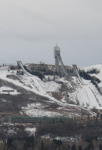 WinSport - Calgary Olympic Park Ski Jumping facility in February