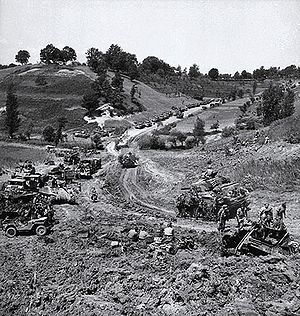 I Canadian Corps - I Canadian Corps forces advancing from the Gustav Line to the Hitler Line during the Liri Valley Offensive, May 24, 1944.