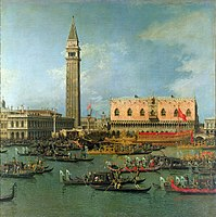 Canaletto - The Bucentaur Returning to the Molo on Ascension Day - Holkham Hall.jpg