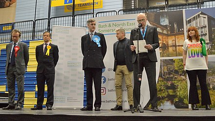 Declaration in the counting hall of the result for the North East Somerset constituency 2019 general election Candidates, North East Somerset 2019 general election declaration of results.jpg