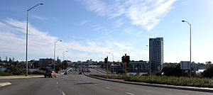 Canning Bridge - Canning Highway, looking towards Canning Bridge and the apartment block built on the site of the Raffles Hotel.