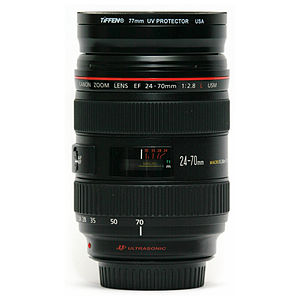 Canon EF 24–70mm lens - Image: Canon 24 70 mm F2.8 lens side at 70 mm