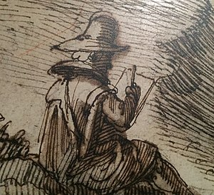 Remigio Cantagallina - Remigio Cantagallina at work in 1612 (detail of one his drawings)