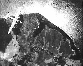 72d Test and Evaluation Squadron - Cape Gloucester New Guinea airdrome as a Liberator saw it during pre-invasion bombing, December 1943