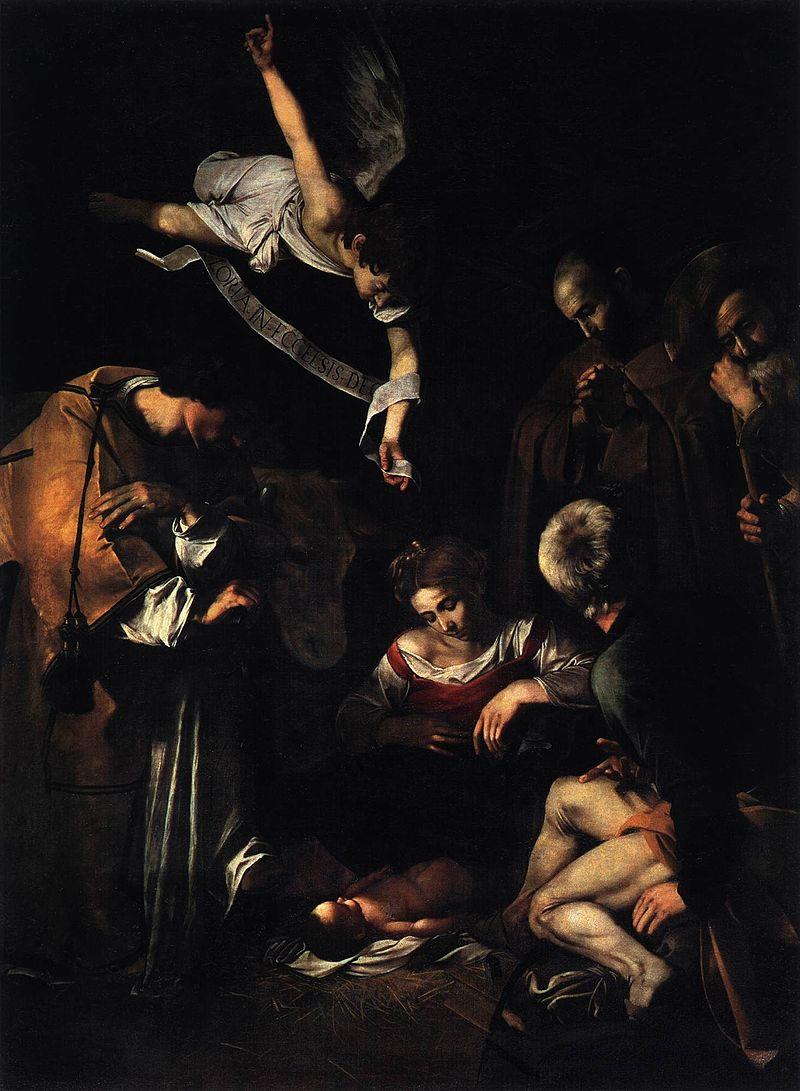 """Фотоискусство и живопись, """"Рождество со святым Франциском и святым Лаврентием""""  Караваджо"""