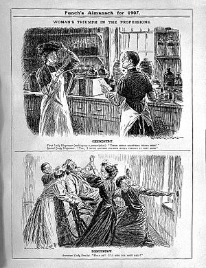 Cartoon of assitant Lady-Dentist from Punch. Wellcome L0004376.jpg