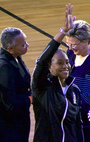 Tamika Catchings - Catchings waving at the WNBA Top 20@20 ring ceremony. WNBA president Lisa Borders at left