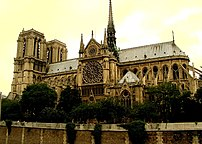 South view of Notre Dame de Paris.