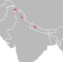 Map showing range of the Cheer pheasant