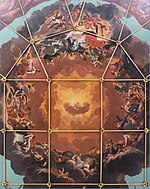 Ceiling fresco centrepiece, Sheldonian Theatre, University of Oxford, by Robert Streater, 1670.jpg