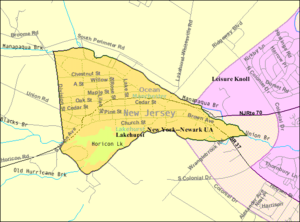 Lakehurst, New Jersey - Image: Census Bureau map of Lakehurst, New Jersey